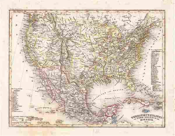 Radefeld: Antique Map of Pre-Gadsen Treaty US & Mexico