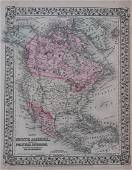 Mitchell: Antique Map of North America, 1870