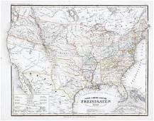Radefeld: Antique Map of U.S. Free & Slave States, 1849