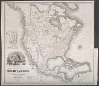 Colton: Antique Map of North America, 1852