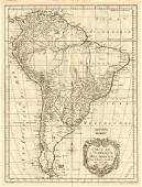 Bellin: Antique Map of South America, 1758