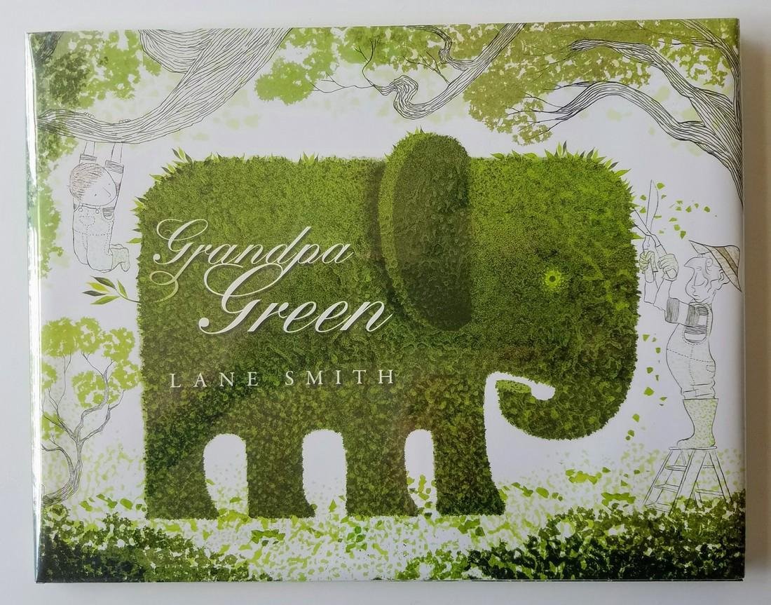 Caldecott Honor, Grandpa Green, signed with drawing.