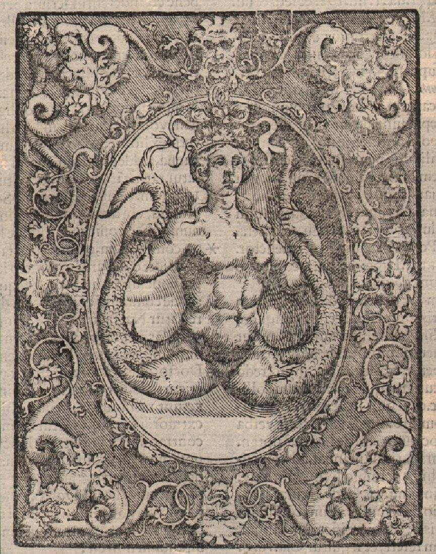 Italian 16th Century Mermaid Woodcut Print