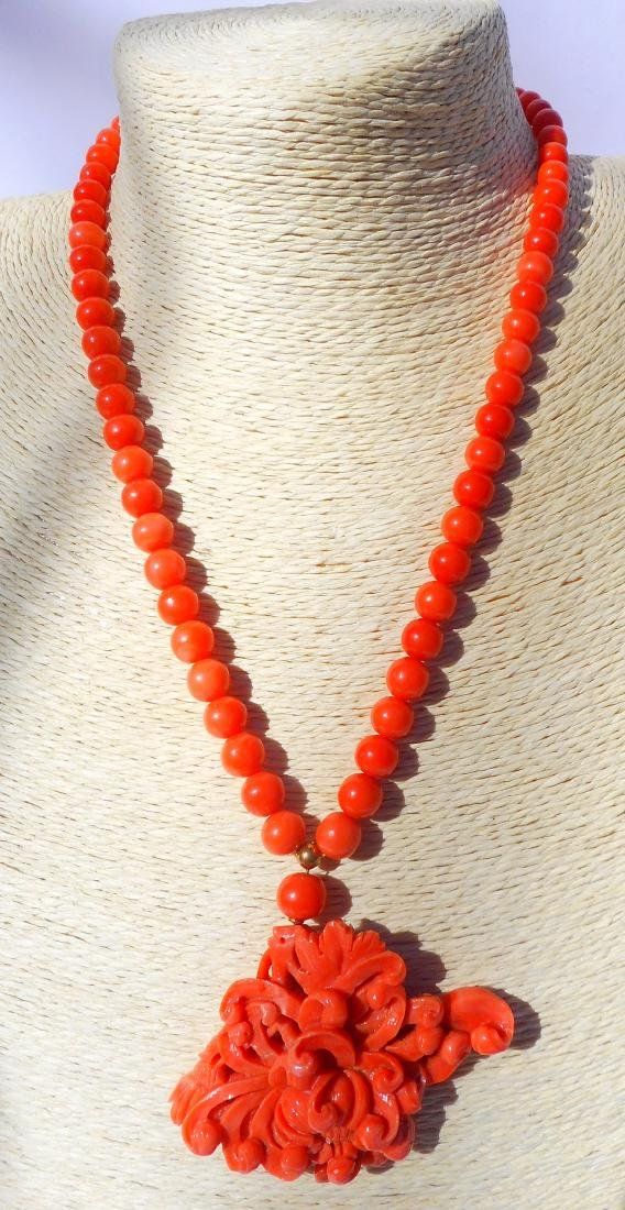 Vintage Japanese Coral Necklace with Pendant