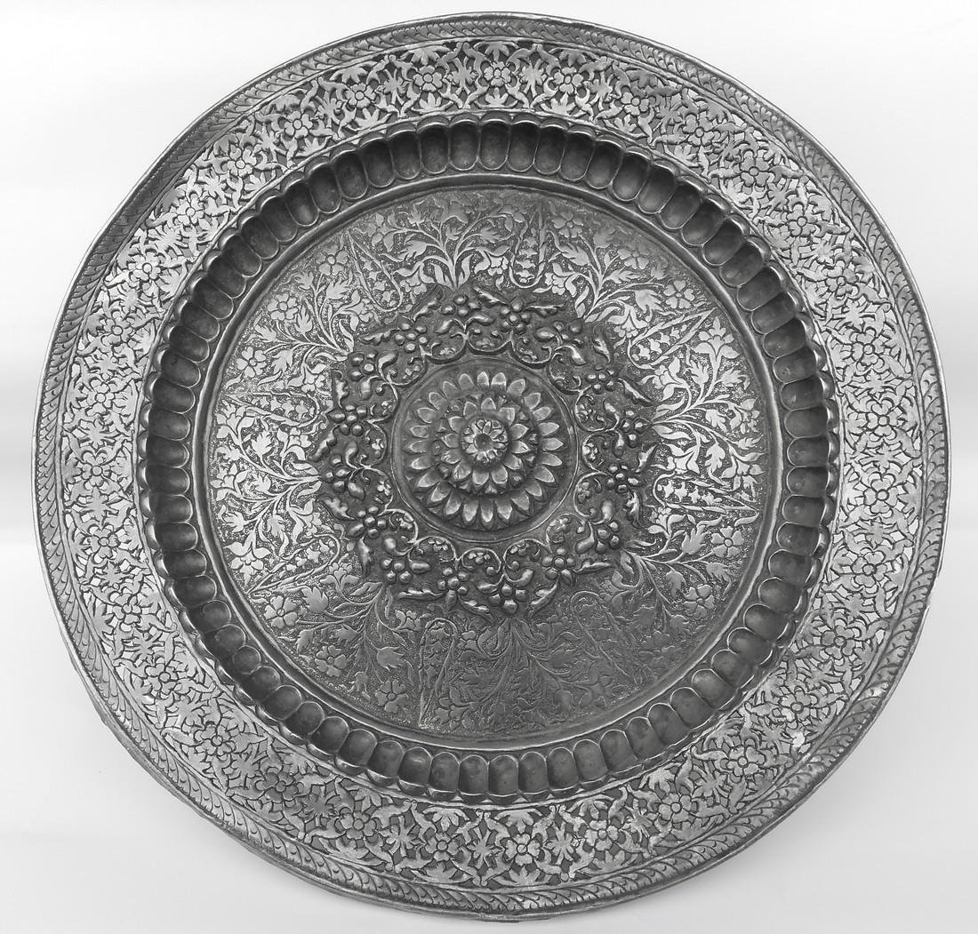 Antique Mughal Indian Sterling Silver Plate