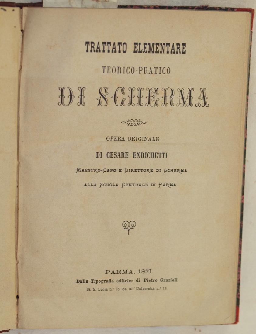 TRATTATO DI SCHERMA, Enrichetti, 1871 1st edition