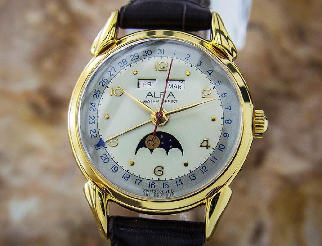 Alfa Triple Calendar Moonphase Swiss Men's Watch c1950s