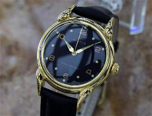 Benrus 1950s Gold Plated Mens Vintage Manual Watch