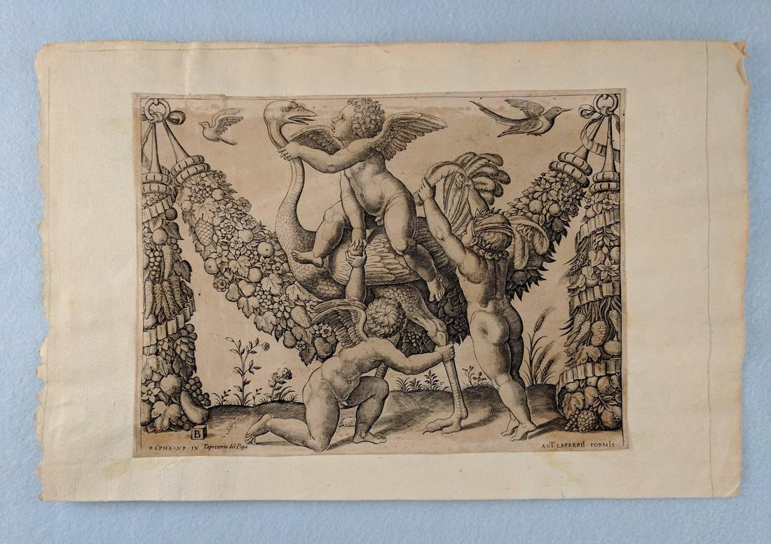 Master of the Die 16th Century Engraving 3 Putti