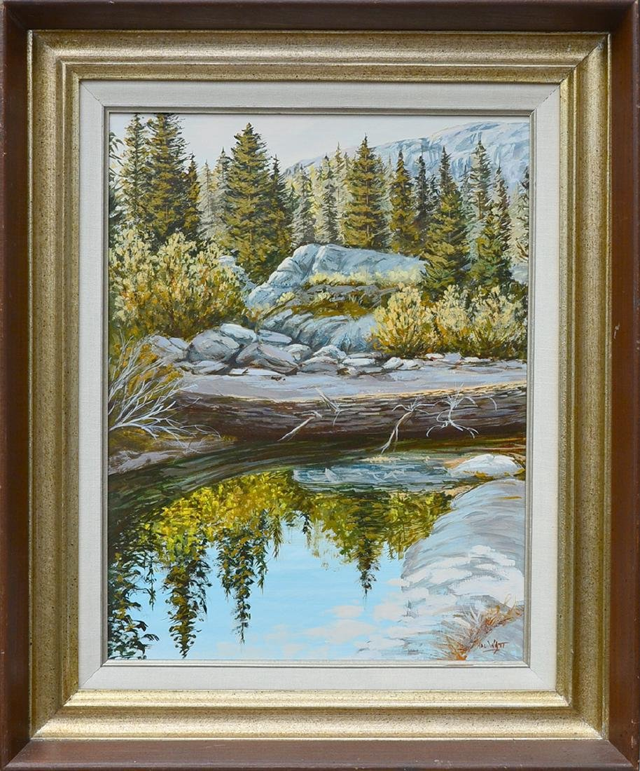 Harold Watt Oil on Masonite A Forest Reflection