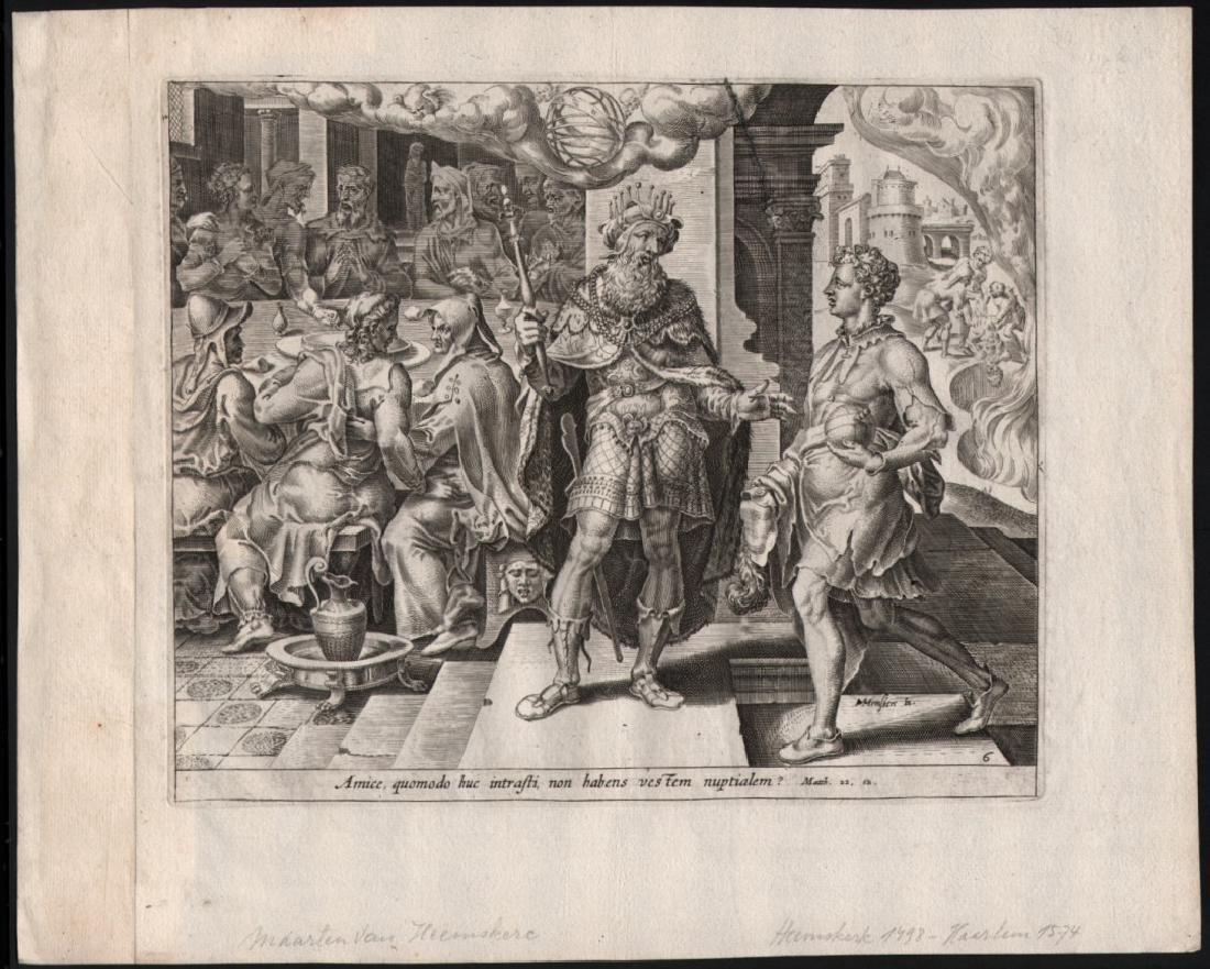 Dirk Volkertsz Coornhert Engraving Parable Banquet