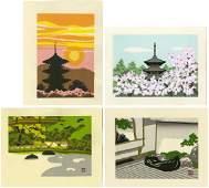 Masao Ido Woodblock Four Small Prints