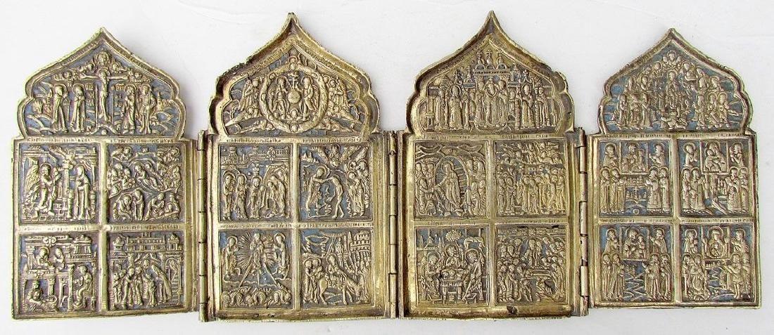 Antique Russian Bronze Traveler Iconostas Quadriptych