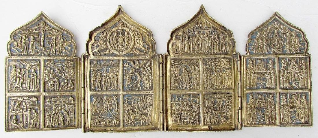 Antique Russian Bronze Traveler Iconostas Quadriptych