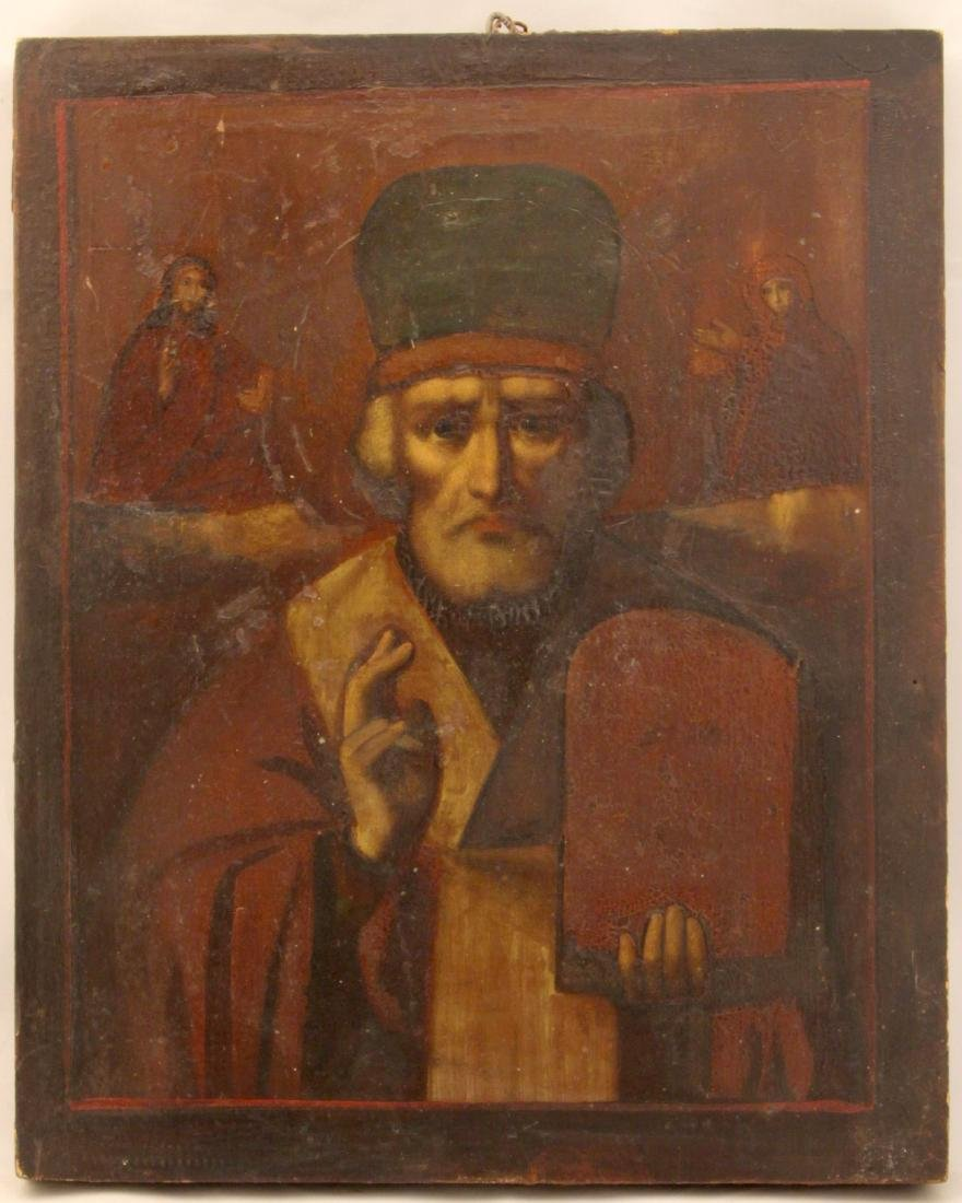 Saint Nicholas Antique Russian Icon, 19th C