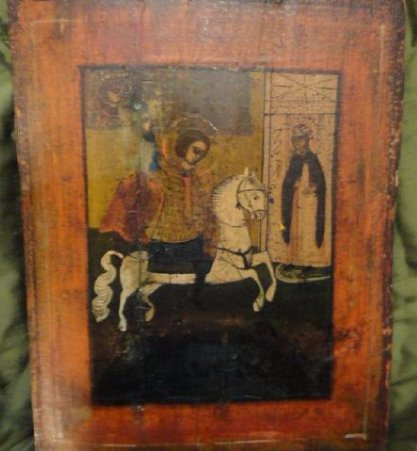 St George Killing Dragon Antique Icon, 1820