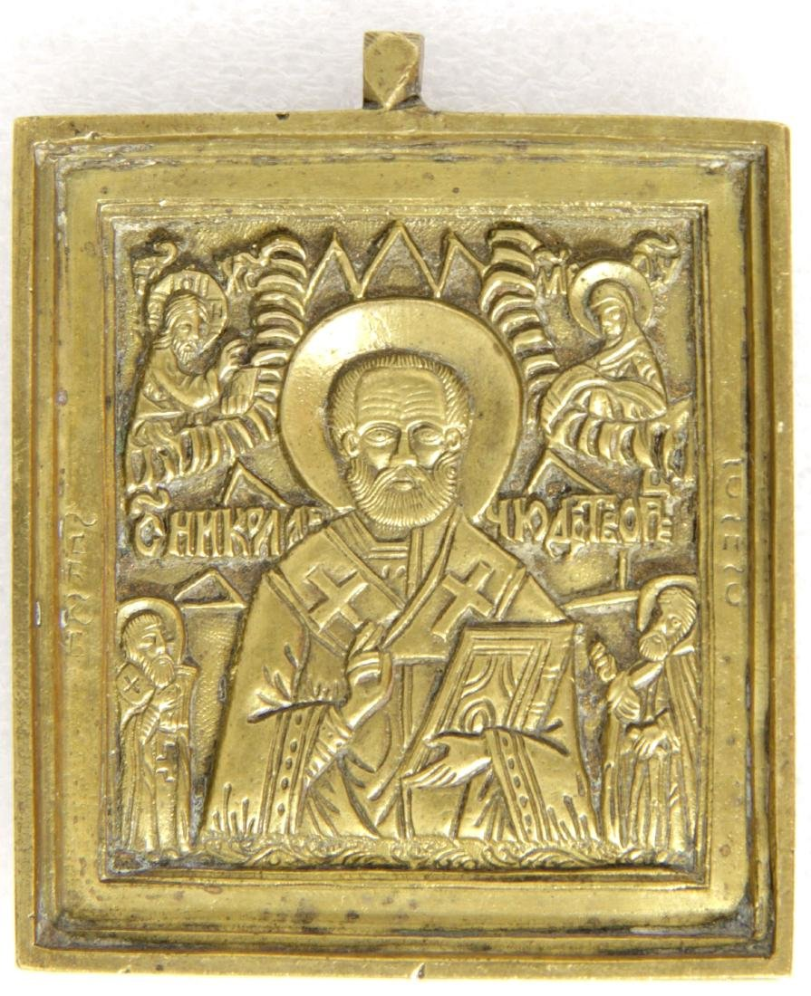 Saint Nicholas Antique Russian Metal Icon, 19th C