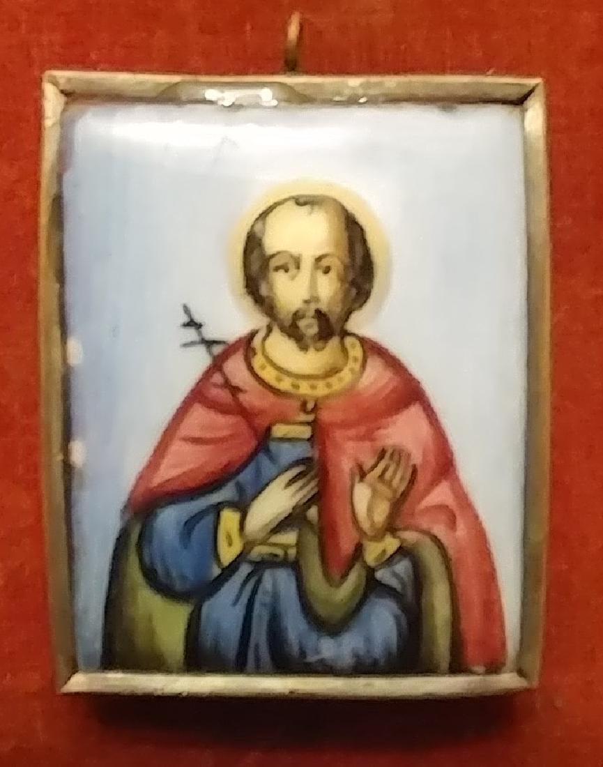Antique Finift icon of Wonderworker Avramiy