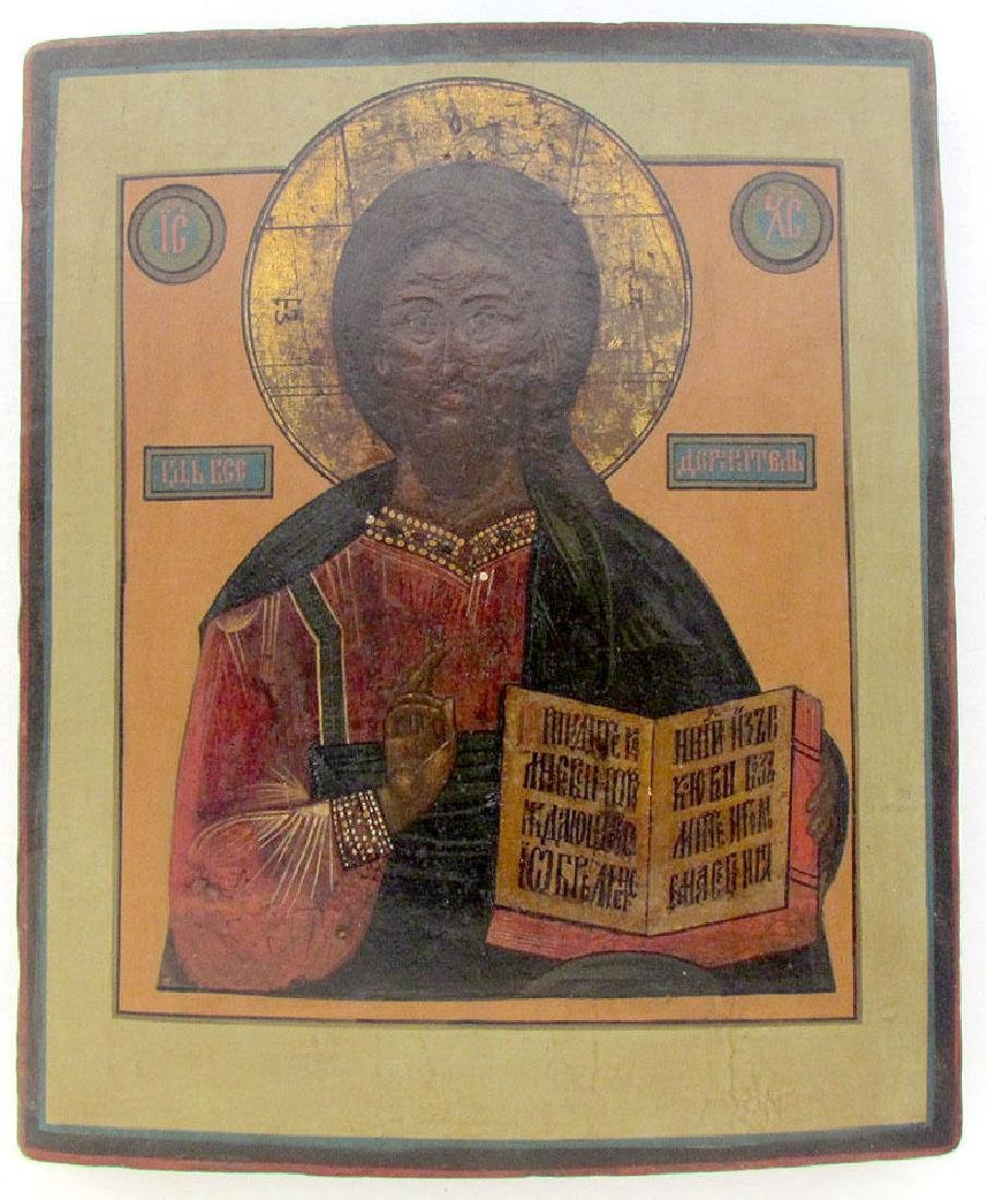 19th Century Antique Russian Icon of Jesus