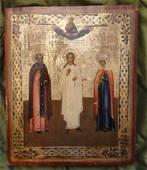 Angel Guard John & St Tolga Antique Russian Icon, 1880