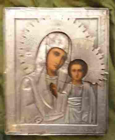 Mother of God Kazanskaya in Thin Silver Cover Riza Icon
