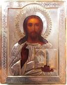 Christ the Ruler Gold Plated Silver Russian Icon 19th C