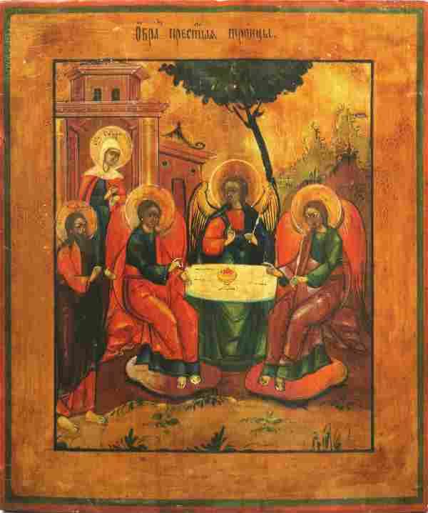 Old Testament Trinity Antique Icon, 19th C
