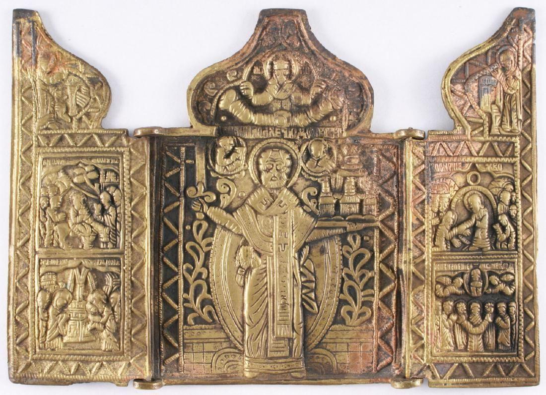 Saint Nicholas of Mozhajsk Triptych Icon, 19th C