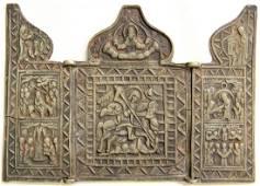 Saint George Slaying the Dragon Triptych Icon, 19th C
