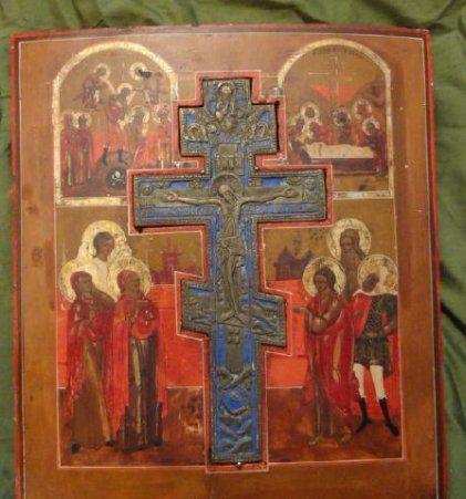 Antique Crucifixion Icon, 1820