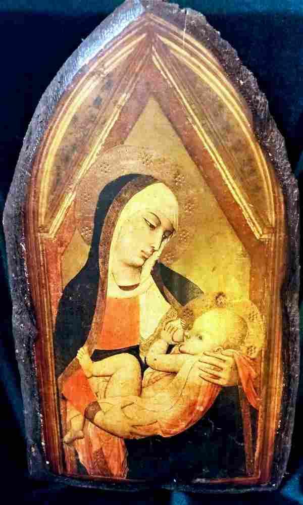 Antique Italian Icon of the Milk Nursing Mother of God