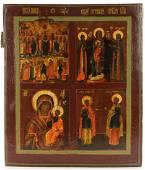 Selected Saints Four Parts Antique Icon, 19th C