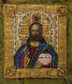 Jesus Christ Oil Special Decorated Canvas Icon, 19th C