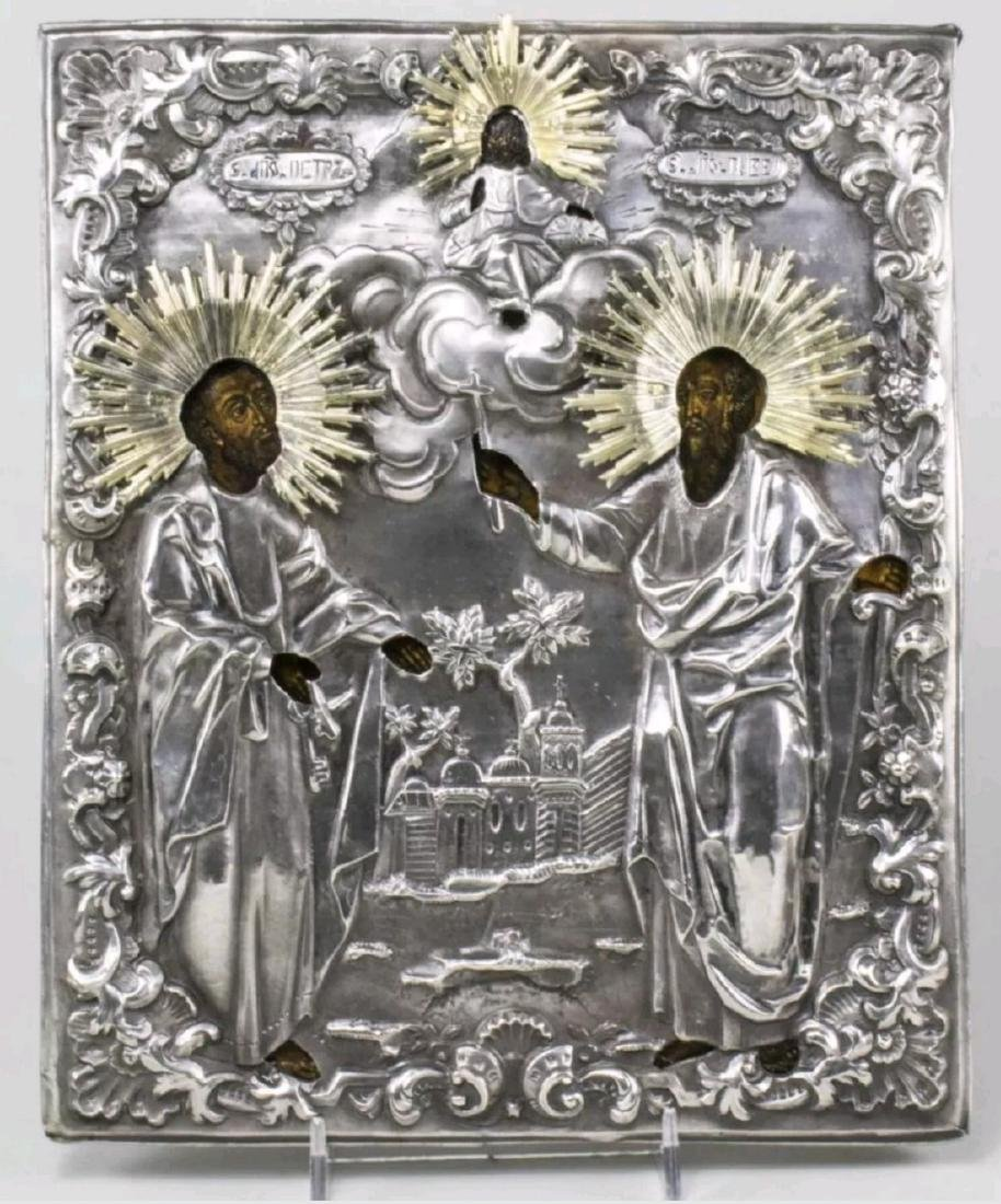 Peter and Paul Antique Russian Silver Icon, 19th C