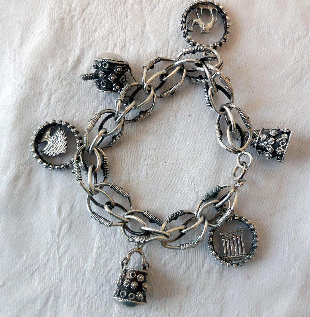 Antique Silver Charm Bracelet, Middle East Influence