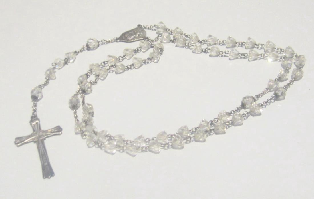 Vintage Sterling Silver Cut Glass Rosary Necklace