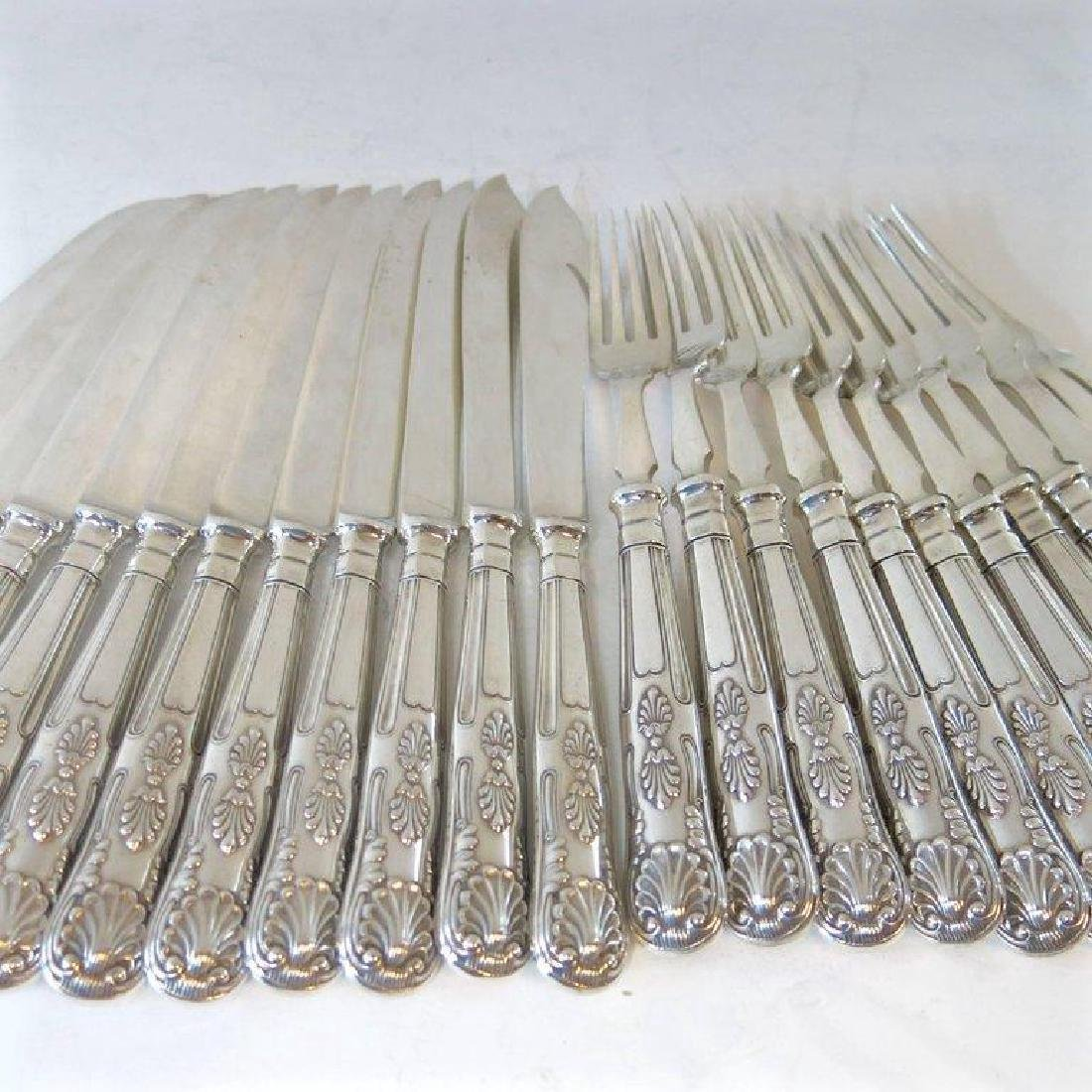 Antique Mappin & Webb Silver Fish Knives & Forks, 24pc