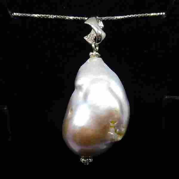 Sterling Silver Natural Baroque Pearl Necklace