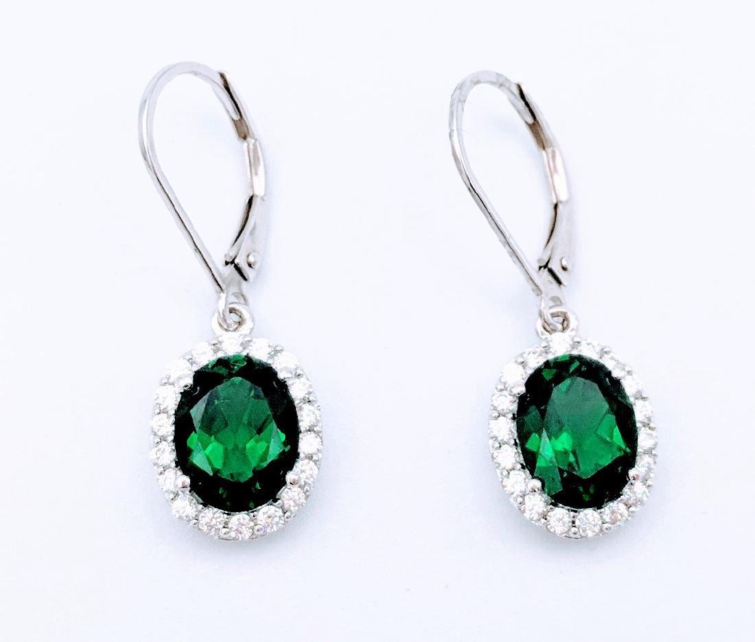Sterling Silver Emerald Cubic Zirconia Earrings, 4ct