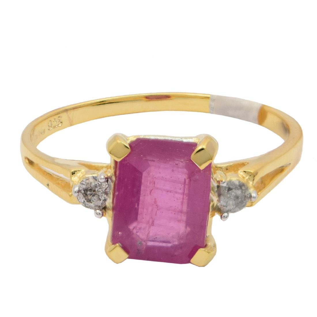 Sterling Silver 2.16ct Ruby 0.08ctw Diamond Ring