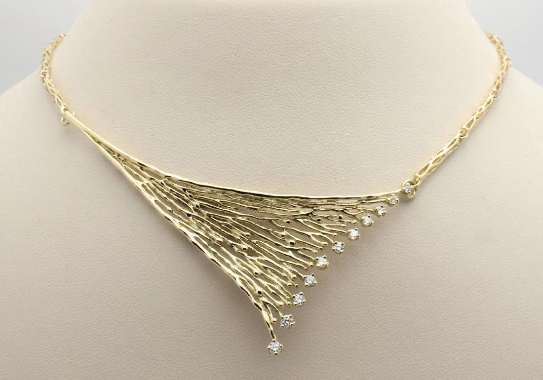 14K Yellow Gold Diamond Tree Branch Necklace, .25ctw