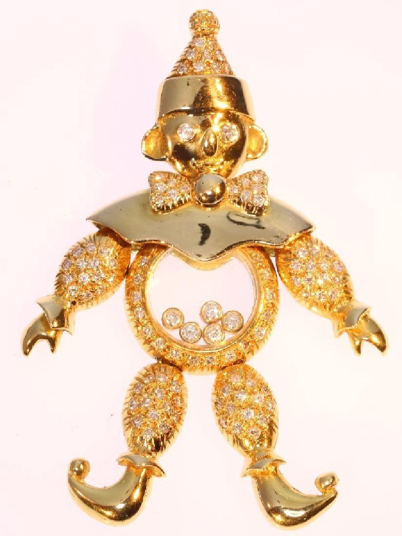 Chopard-style 18K Gold Diamond Happy Clown Pendant