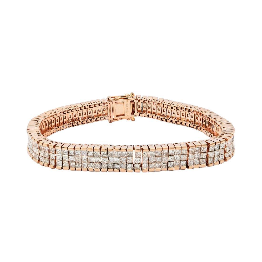 14K Rose Gold Diamond Tennis Bracelet, 10.94ctw