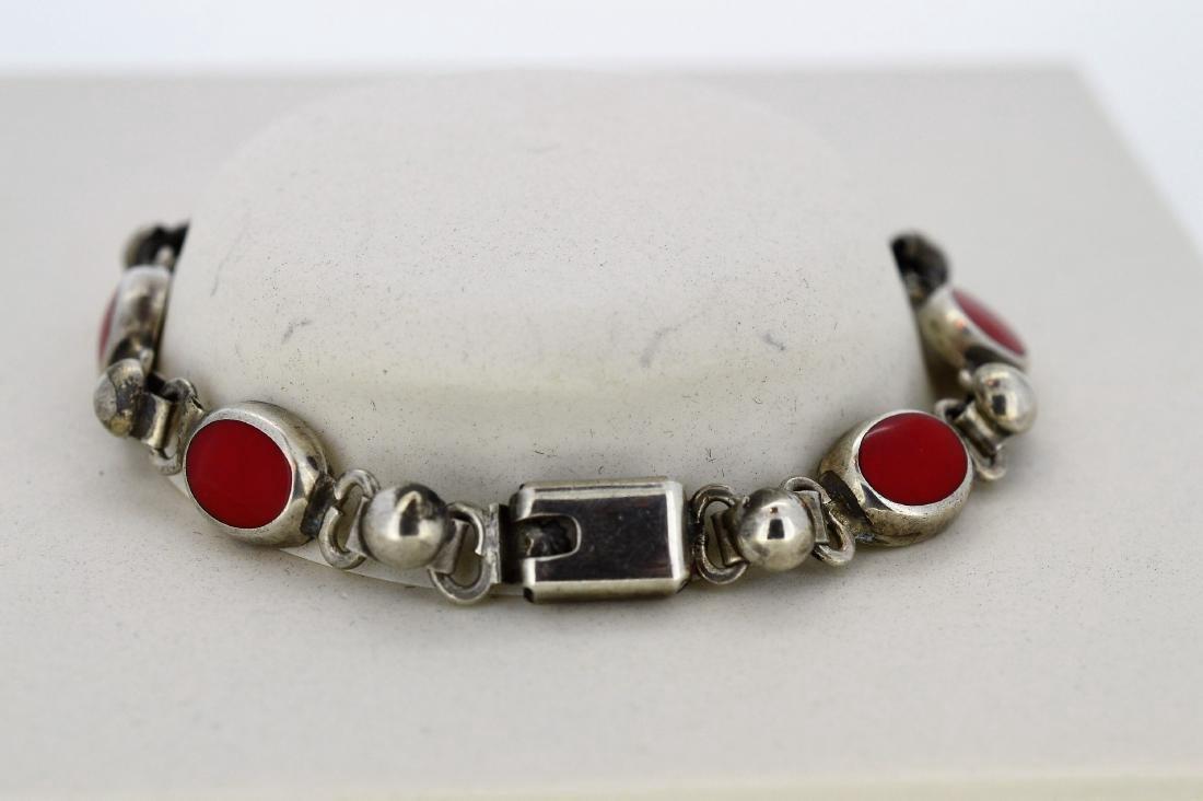 Mexican Sterling Silver & Red Enamel Bracelet