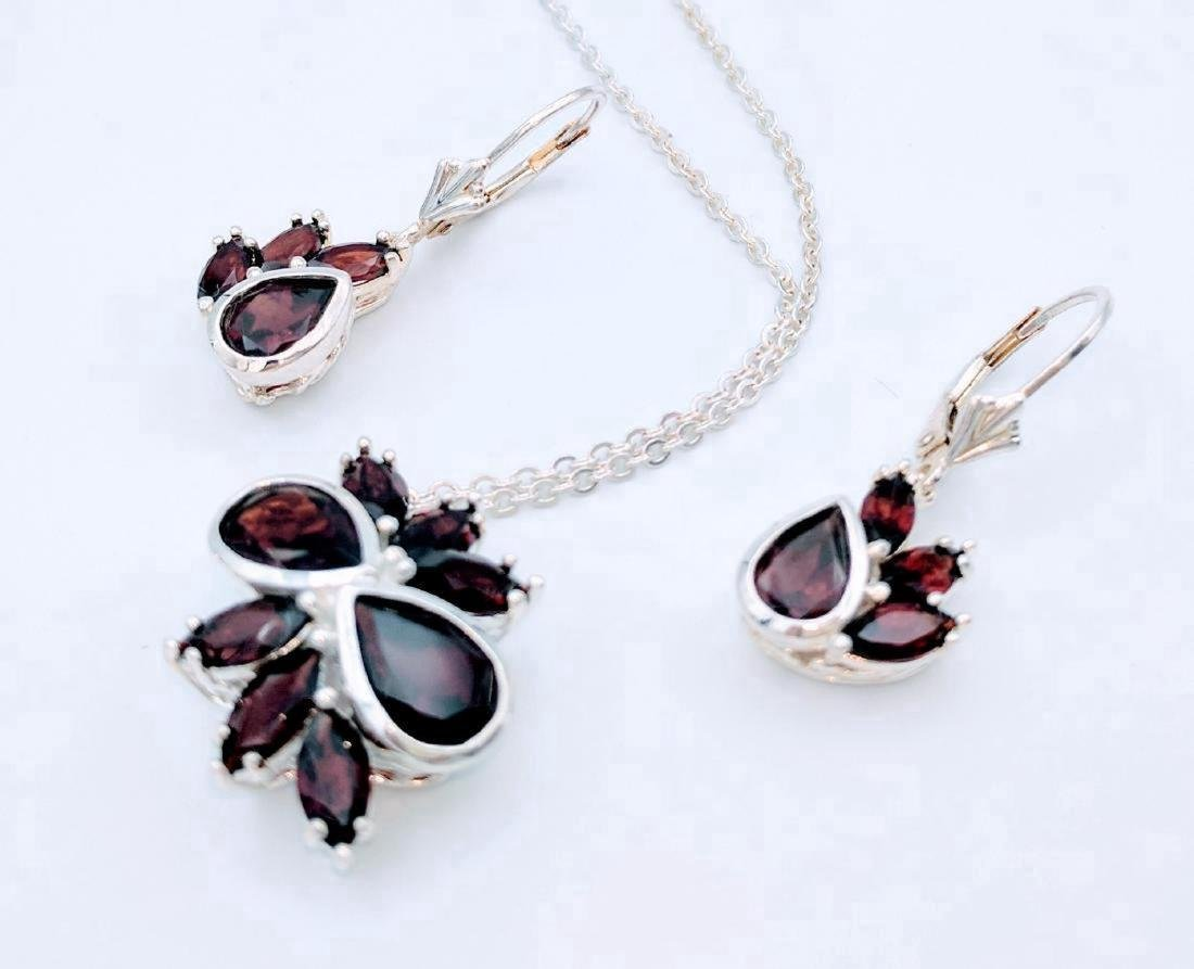Sterling Silver Red Garnet Necklace Earring Set 2.84ctw