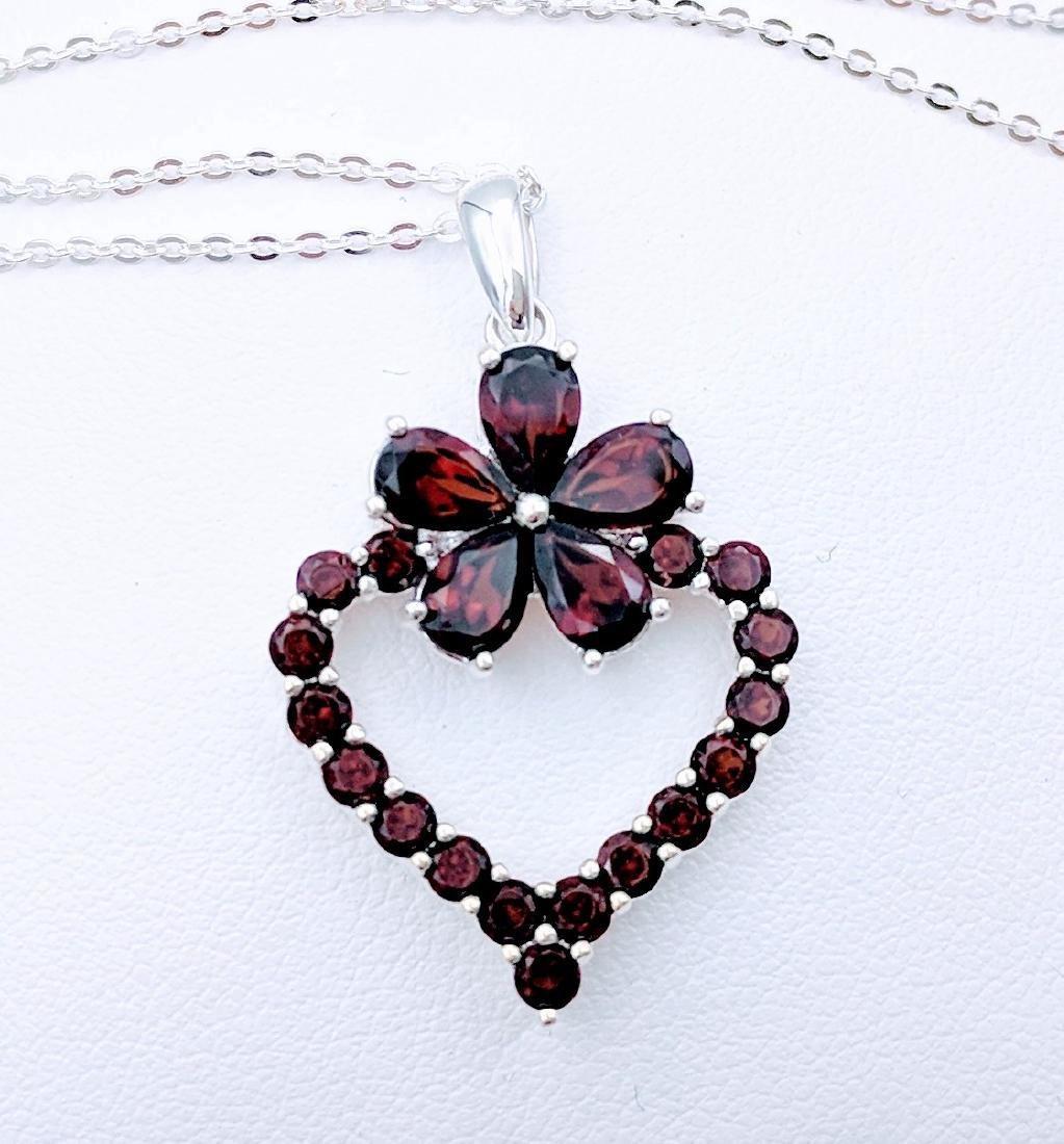 Sterling Silver Almandine Garnet Heart Pendant, 2.77ctw
