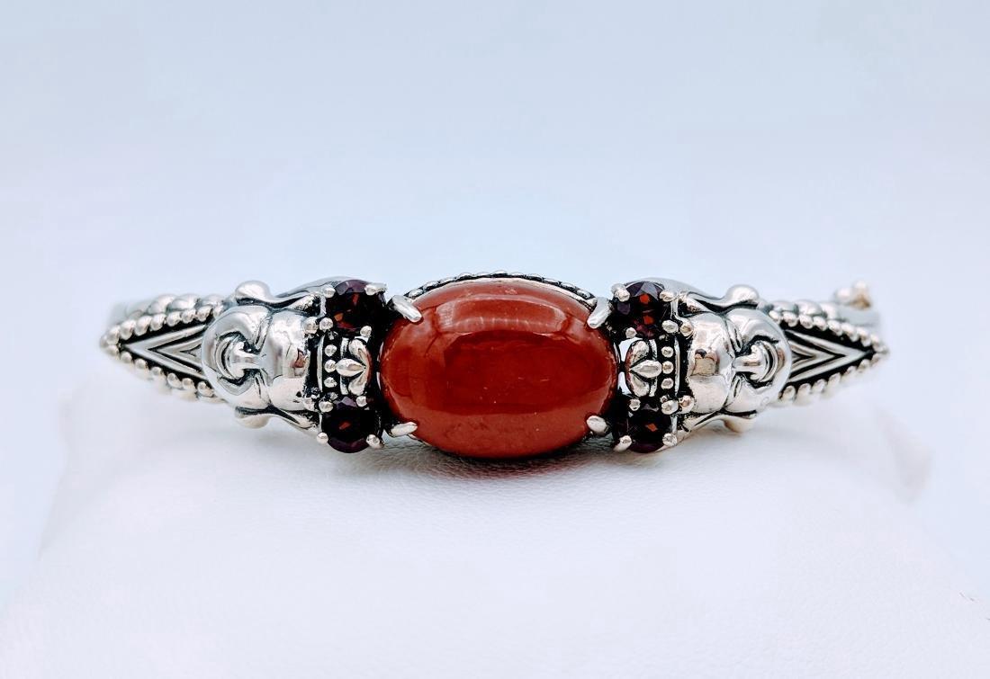 Sterling Silver Jasper Garnet Buddha Design Bracelet