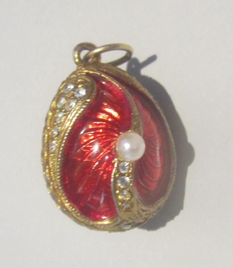 Russian Enamel Sterling Silver Gilt Egg Charm Pendant