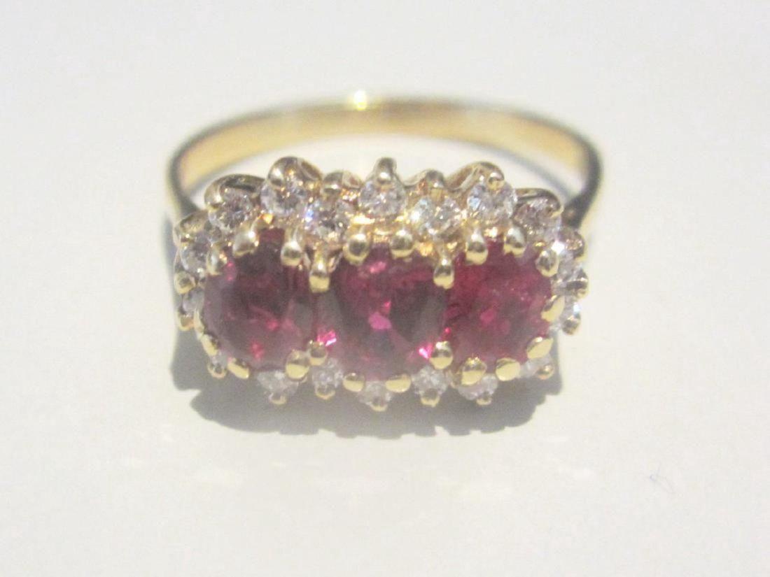 Vintage 14K Gold Burmese Ruby Diamond Ring, 1.30ctw