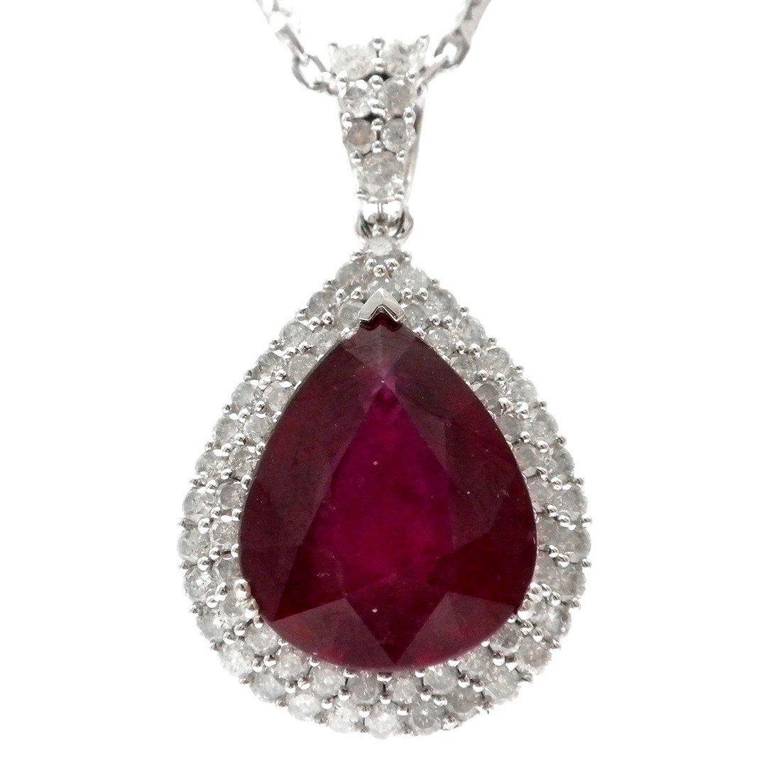 14K Gold 14.68ct Ruby and 2.00ctw Diamond Necklace